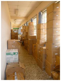 Boxes line the hallways at Ridge Hospital