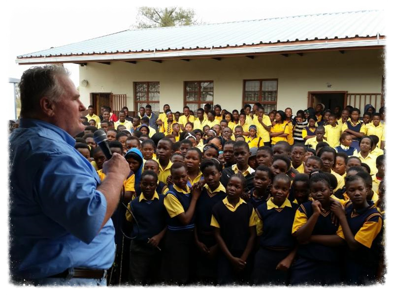 David preaching the Gospel to South African students_ August 2015.