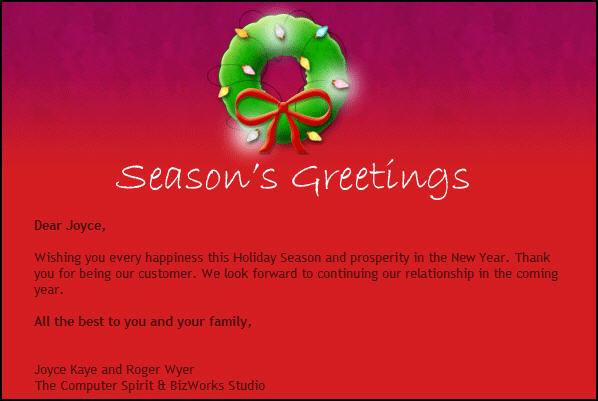 e-newsletter season's greetings