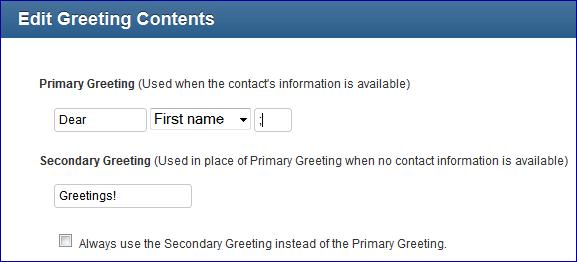 Greeting Option