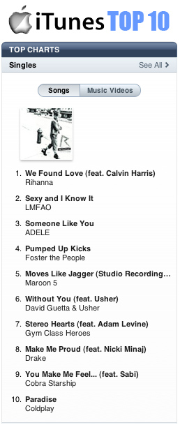 iTunes Top 10 for 10-23-11