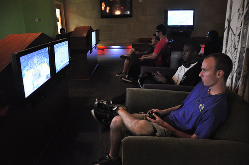 Gamers in Game Room