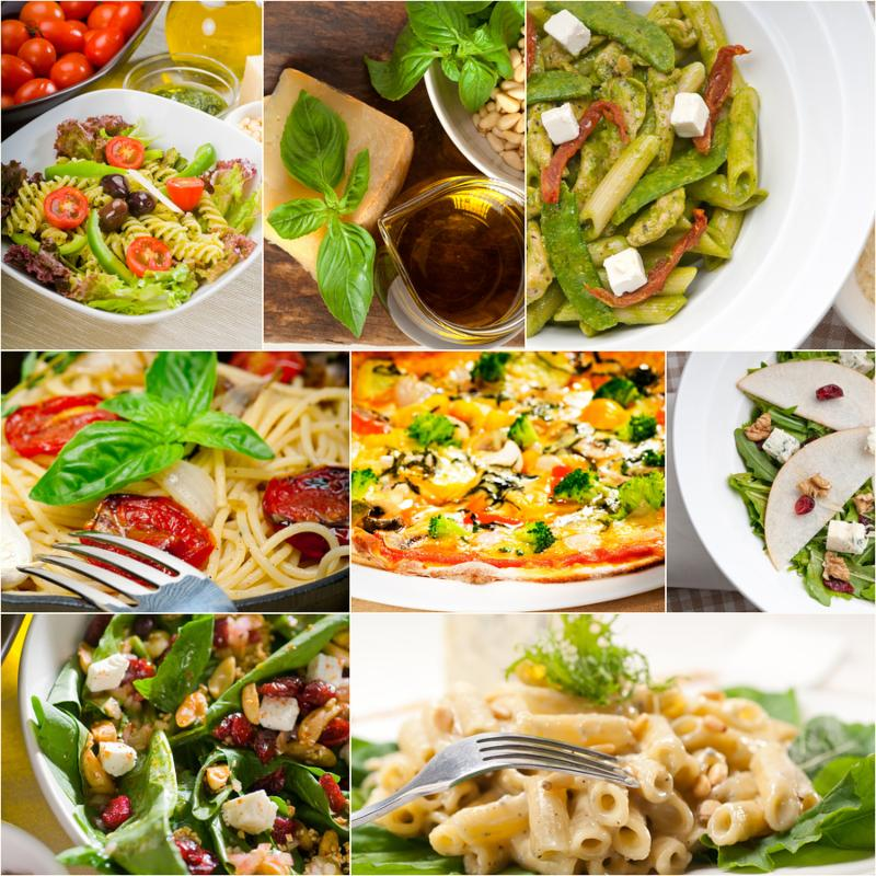 healthy vegetarian pasta soup salad pizza Italian food staples collage