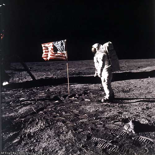 Moon Landing With Flag