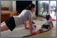 Mary & Grace doing Yoga