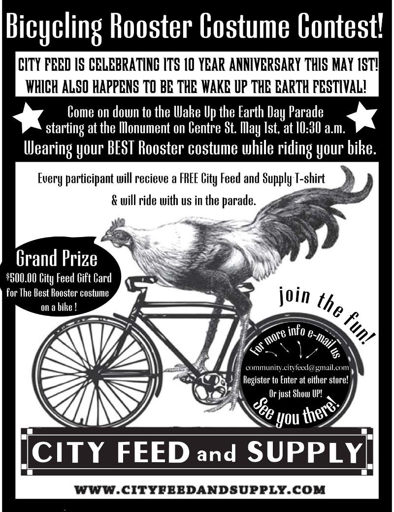 Rooster on a bike flyer