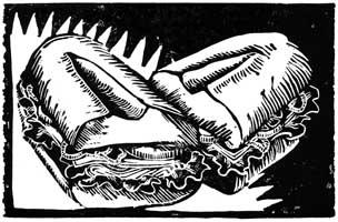 sandwich woodcut