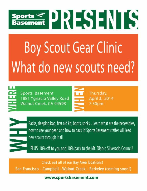 The Whole Family Is Invited To The April 3rd Boy Scout Round Table At  Sports Basement (1881 Ygnacio Valley Road, Walnut Creek, CA 94598).