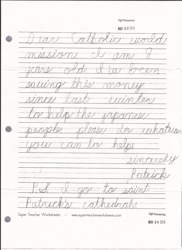Patrick's Donation Letter