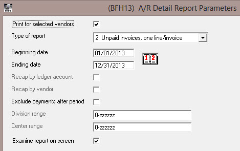 Search for unpaid A/R Invoices