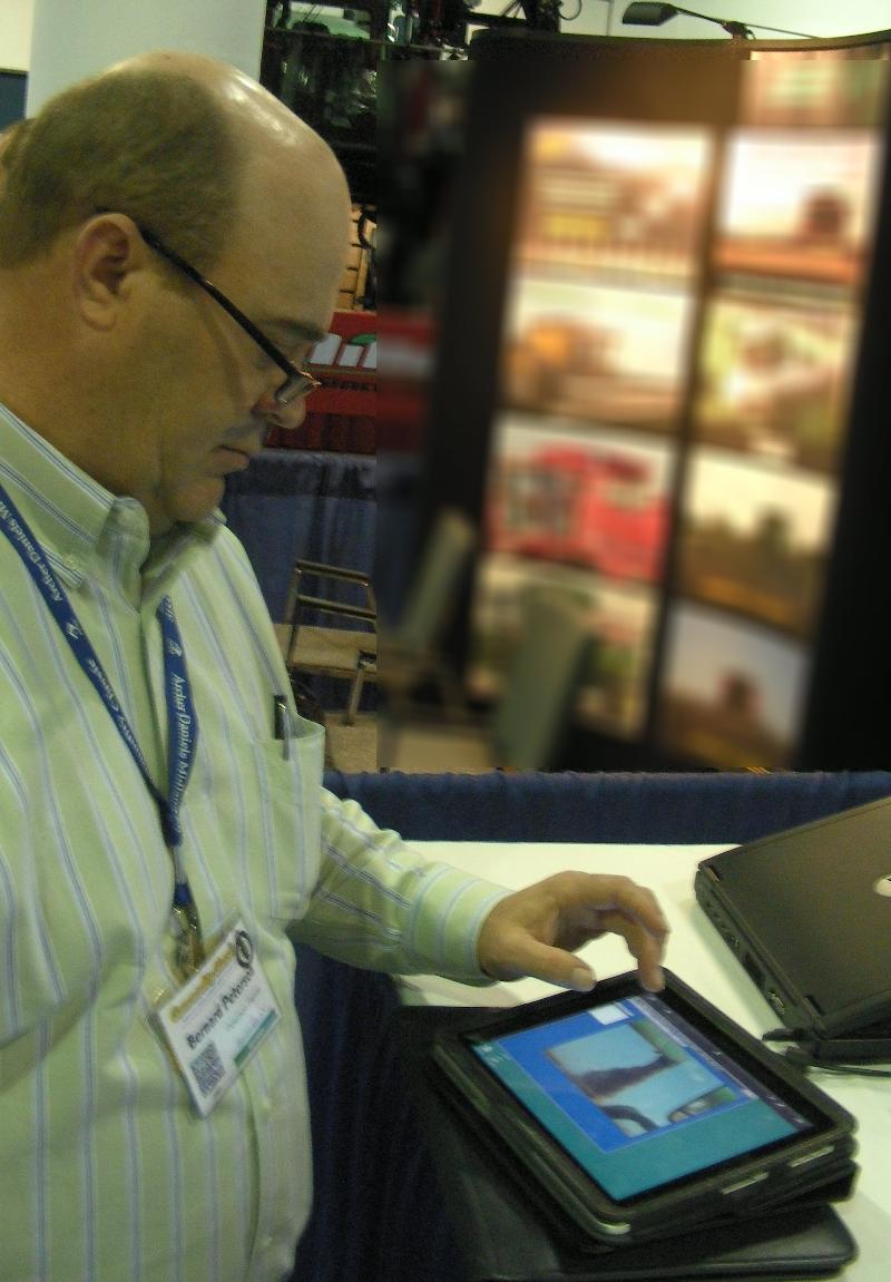 Bernard Peterson using iPad