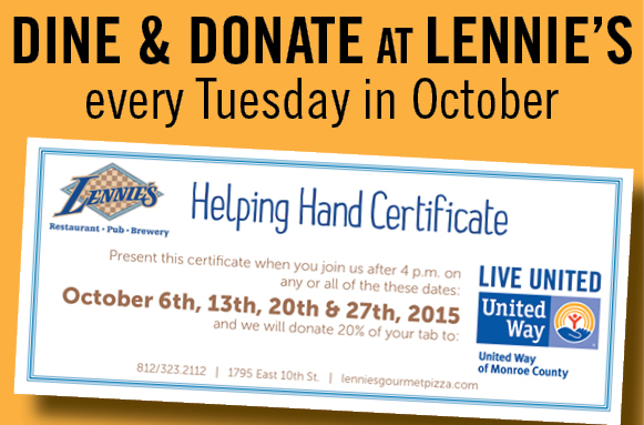 Lennie's Dine & Donate every Tuesday in October