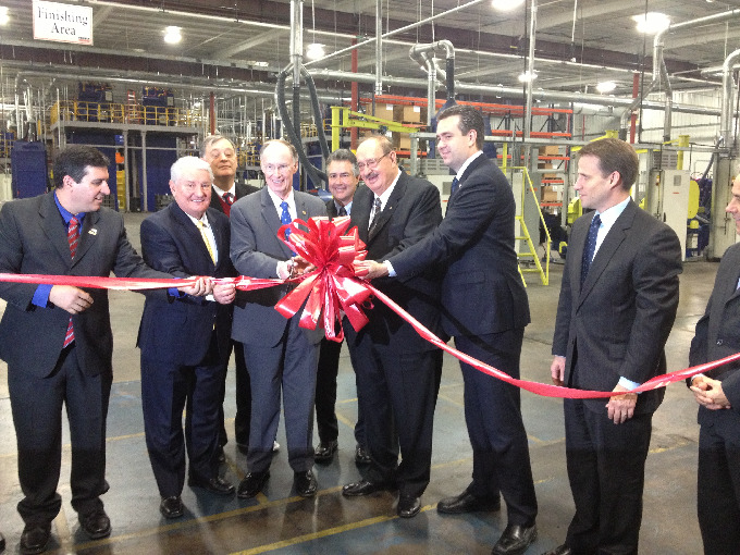 Representative Beckman, Governor Bentley, Mayor Gillespie, and Senator Taylor joined Raul and Daniel Randon  and other Fras-le executives in cutting the ribbon for the new line.