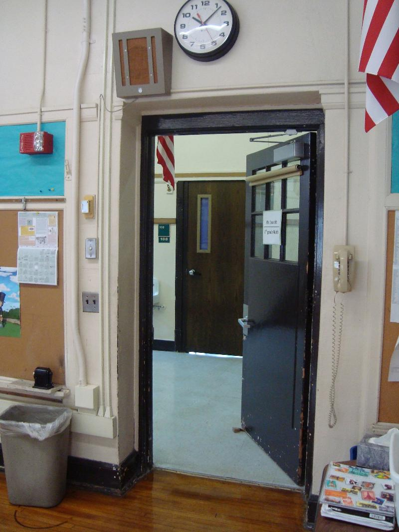 The door of the classroom on the way out of the room