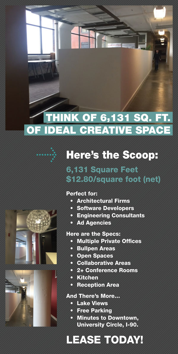 THINK OF 6,131 SQ. FT.  OF IDEAL CREATIVE SPACE