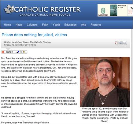 Catholic Register Article