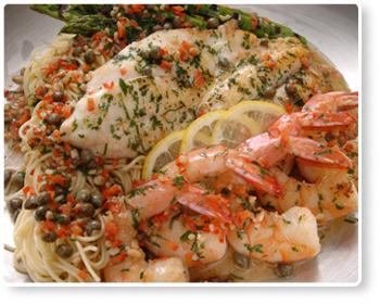 Snapper and shrimp scampi