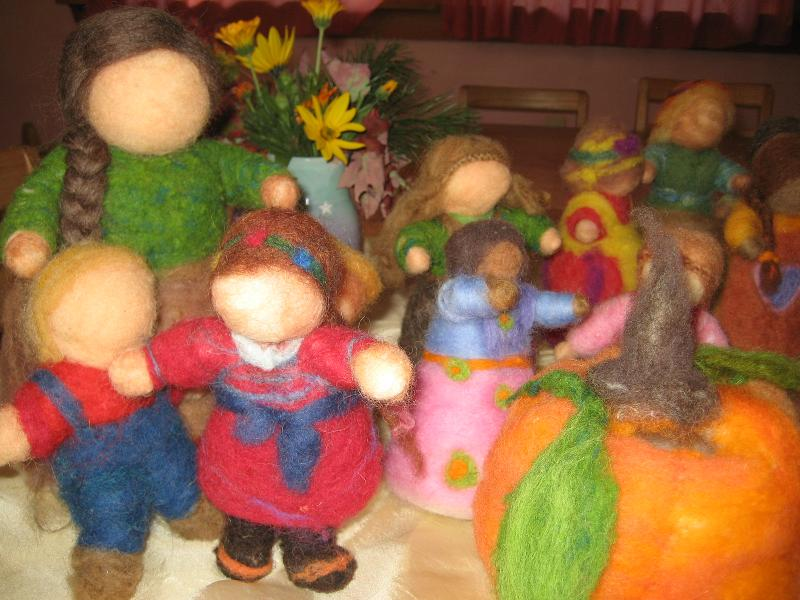 LifeWays students created a village of wool puppets with Susan Silverio.