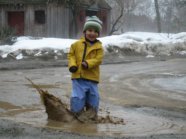 splashing in puddles!