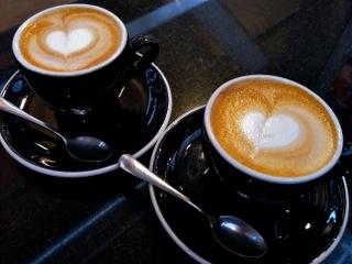 Heart cappuccinos