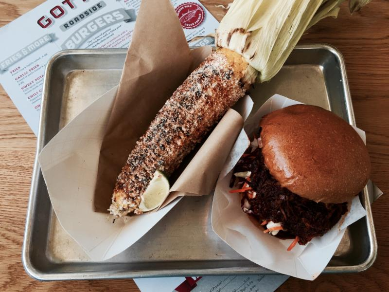 Gott's pulled pork and Mex corn