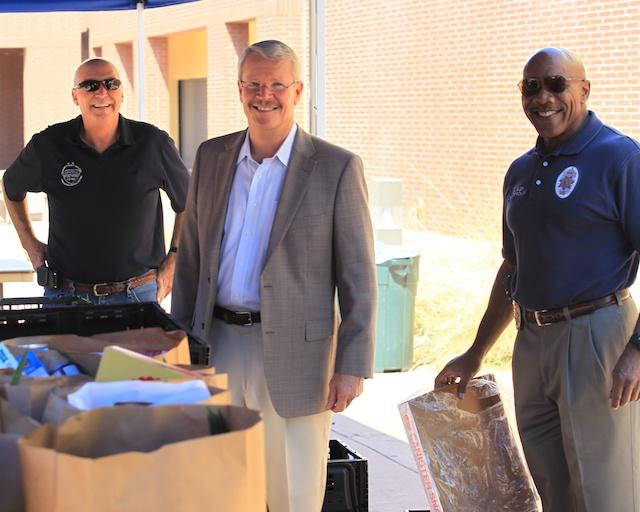 Dennis Gordon, Pres. Roquemore & Police Chief Will Glen
