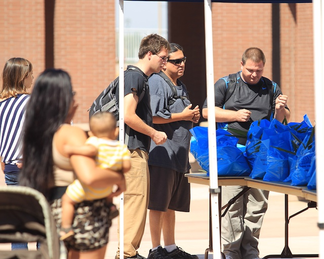 Handing out donated food packages.