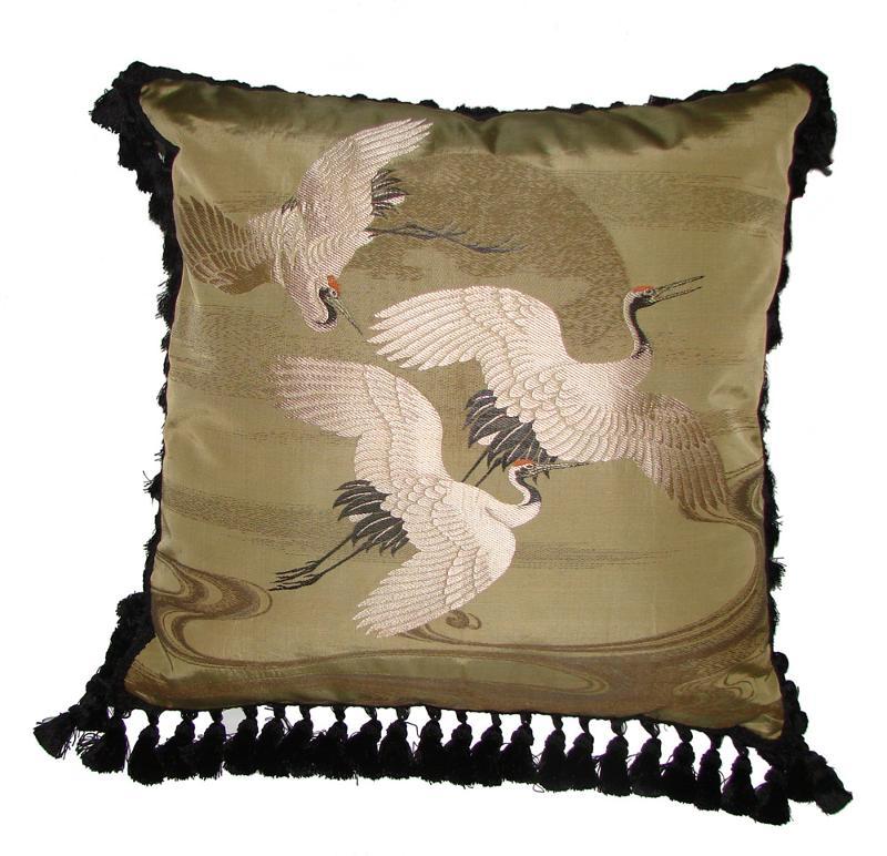 Fukusa Pillow with Cranes