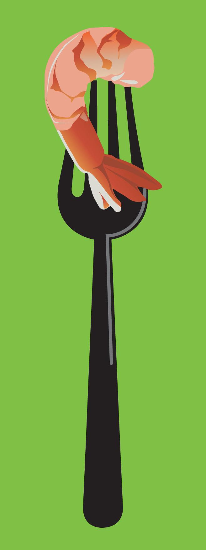 Fork with shrimp