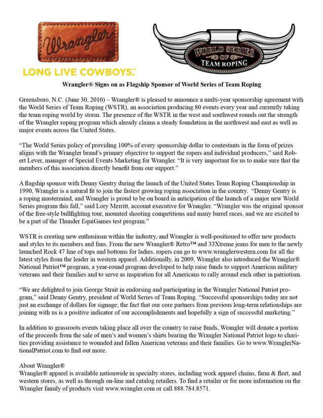 wrangler press release