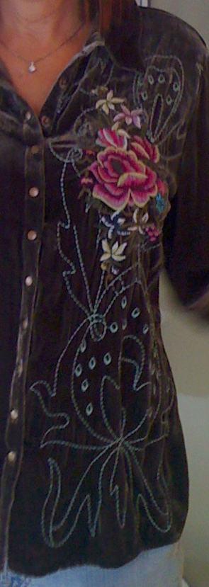 Velvet shirt embroidery