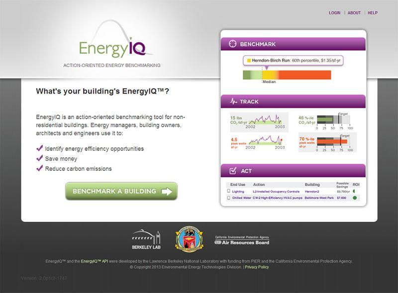 Berkeley Lab's EnergyIQ Homepage screenshot
