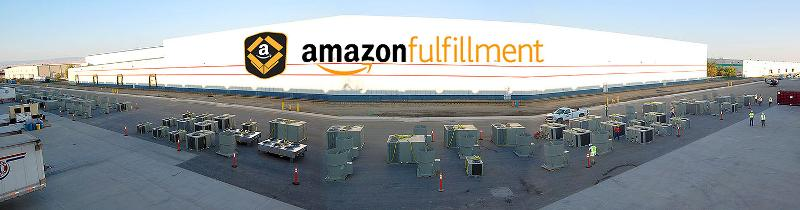 morning panorama of 128 HVAC Units ready to be lifted onto Amazon Distribution center