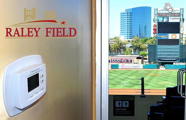 Pelican Thermostat in Raley Field Suite with Logo