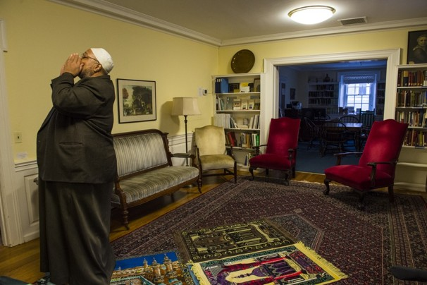 Nikki Kahn/THE WASHINGTON POST -  Imam Daayiee Abdullah gives the call to prayer at the Light of Reform mosque in Washington.