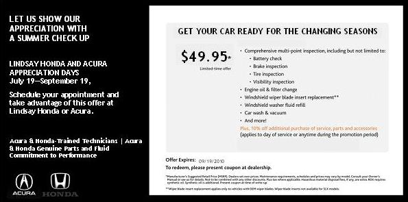 Lindsay Acura Serving Columbus OH New Used Cars July - Acura service coupons