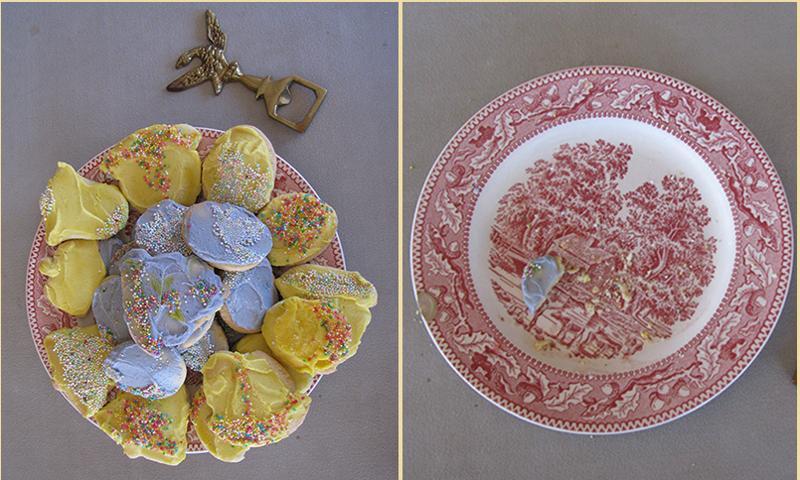 Easter cookies before coffee break & after