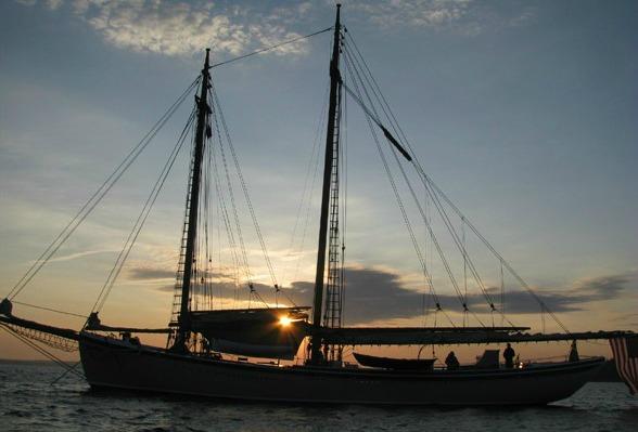 Sunset behind the schooner