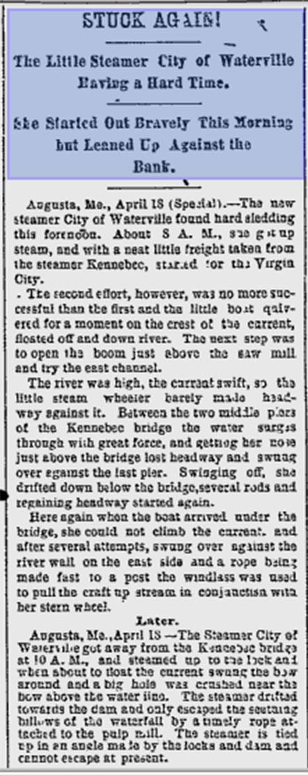 Lewiston Evening Journal Article from April 18, 1891