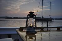 Lantern on cabin top at sunset