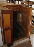 Companionway: locust, pine, and mahogany