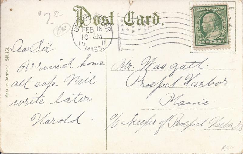 Back of the Postcard picturing the SS Cape Ann
