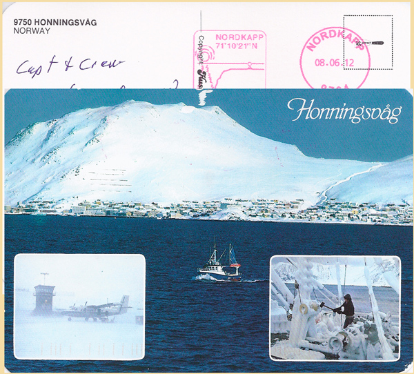 Postcard depicting the coast of Norway