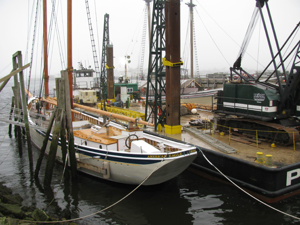 Crane alongside the schooner