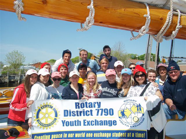 Rotary exchange students on the trip
