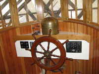 wheel from old sardine carrier BUFISCO, binnacle made by Lionel in 1944
