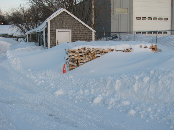 woodpile in a snowdrift