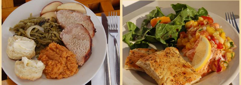Two entrees: Herb-crusted Roast Pork or Poached Salmon with Mango Chutney