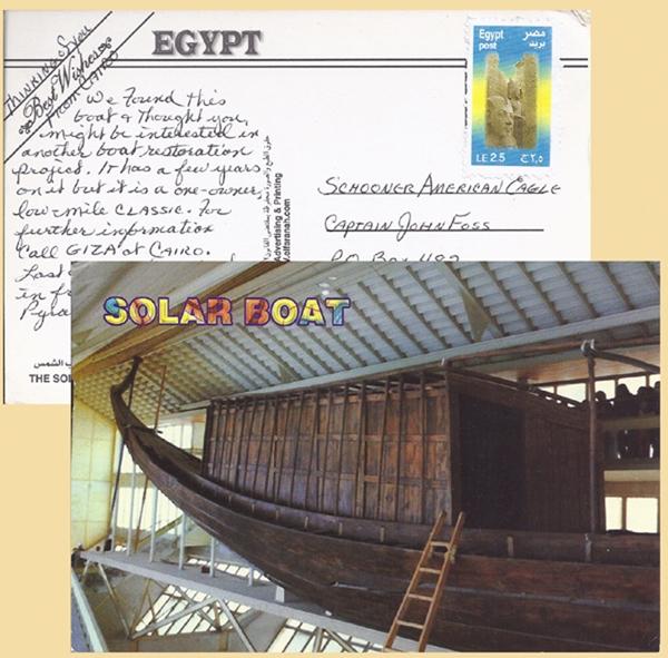 Solar boat post card