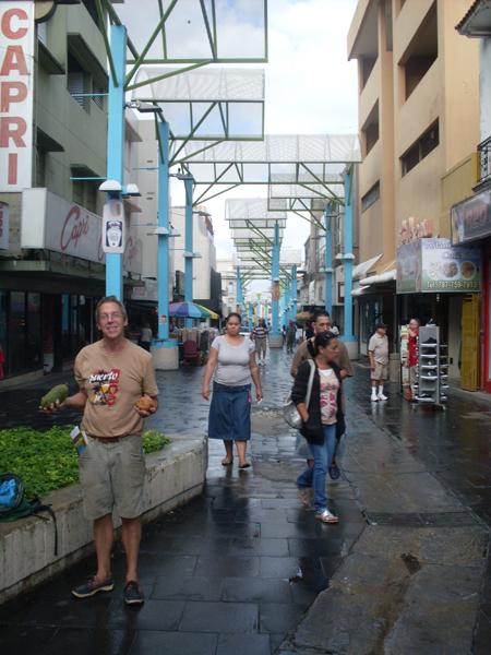 Andy shopping for fruit in San Juan